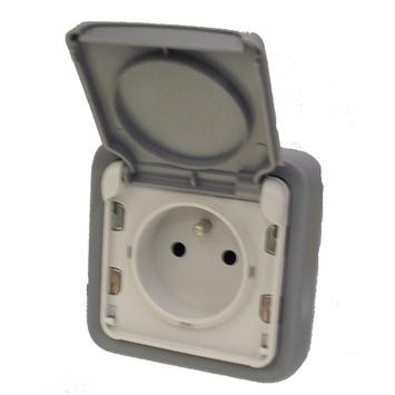Legrand Plexo stopcontact 2-polig met aarding spuitwaterdicht grijs