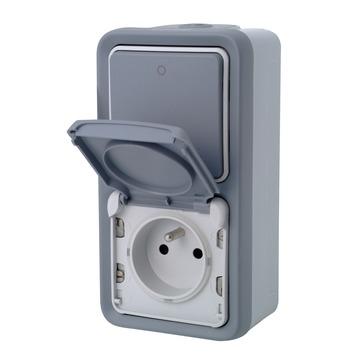 Legrand Plexo opbouw wisselschakelaar + opbouwstopcontact 2-polig met aarding verticaal spuitwaterdicht grijs