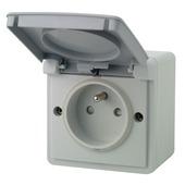 Niko Hydro opbouwstopcontact 2-polig met aarding spuitwaterdicht grijs