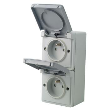 Niko Hydro opbouwstopcontact 2-polig met aarding 2-voudig verticaal spuitwaterdicht grijs
