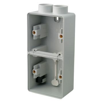 Boîtier double vertical étanche avec 2 entrées Hydro 55+ Niko montage apparent gris