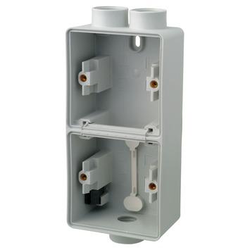 Niko Hydro opbouwdoos 2-voudig verticaal met 1+2 ingangen spuitwaterdicht grijs
