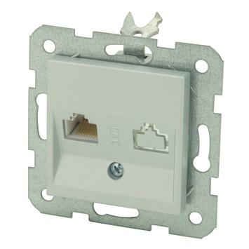 GAMMA inbouw telefoon RJ11 stopcontact zilver