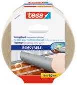 Tesa Ruban adhésif facile à enlever pour tapis 25 m x 50 mm blanc