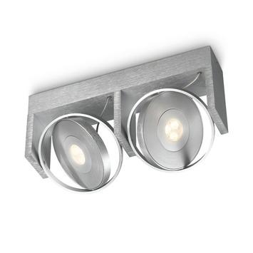 Support 2 spots Particon Philips LED intégré 6W = 56W aluminium
