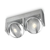 Support 2 spots Particon Philips LED intégré 6W = 56W aluminium