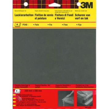 Papier abrasif résistant à l'eau P240 3M 4 pièces