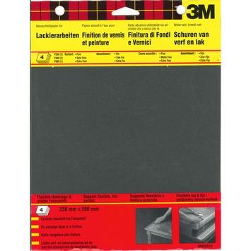 Papier abrasif résistant à l'eau 3M mixpack 4 pièces