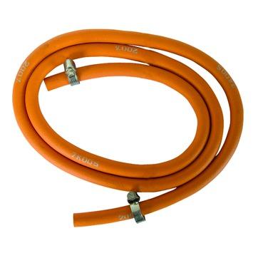 Van Marcke GO Tuyau propane / butane avec 2 colliers de serrage inox Ø8xØ15 mm - L= 150 cm Orange 1 pièce