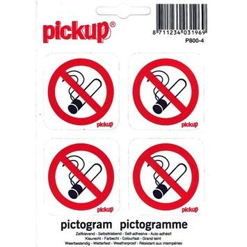 Pickup pictogram verboden te roken 10x10 cm 4 stuks