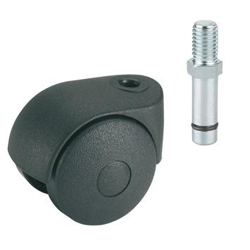 Roulette pour meubles à visser M8 50 mm 30 kg noir