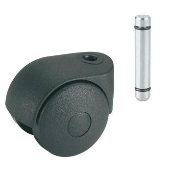 Roulette pour meubles à serrer 8 mm 50 mm 30 kg noir
