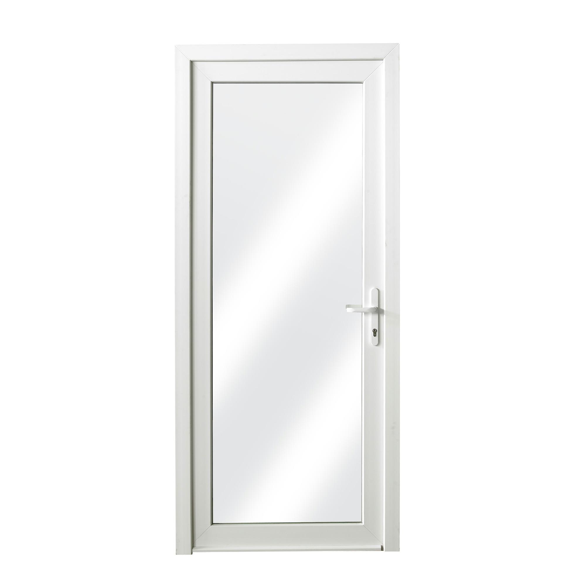 porte ext rieure en pvc vitr e droite 218x96 cm blanc u 1
