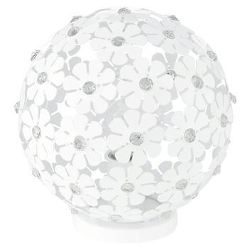 Lampe de table Hanifa Eglo avec des fleurs blanches E27 max. 60 W ampoule non fournie