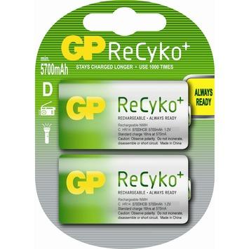 GP ReCyko herlaadbare D-batterij 5700 mAh 2 st
