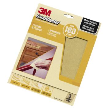 Papier de ponçage P180 3M SandBlaster or 3 pièces