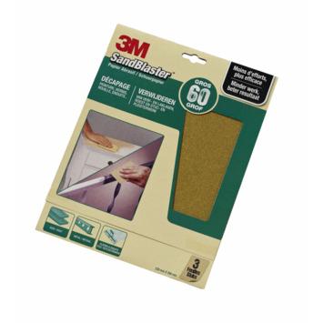 Papier de ponçage P60 3M SandBlaster vert 3 pièces
