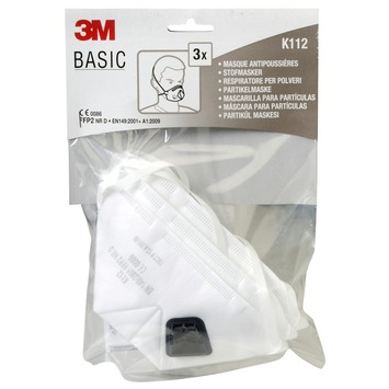 Masque anti-poussière FFP2 avec valve 3M Basic 3 pièces