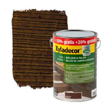 Billes de jardin et poteaux Xyladecor brun foncé 5+1 L