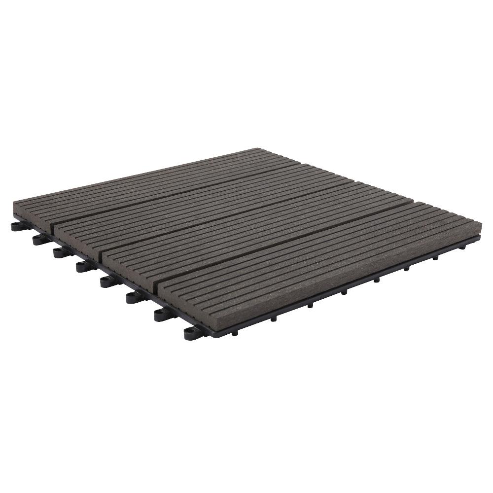Dalle de jardin composite 6 pi ces gris fonc 31x31 cm for Dalle jardin gris