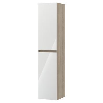Armoire colonne Monta Bruynzeel 160x35x35 cm 2 portes blanc brillant/chêne gris