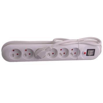 Bloc 6 prises Exin cordon 1,5m avec interrupteur blanc