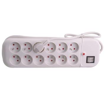 Bloc 12 prises Exin cordon 1,5m avec interrupteur blanc