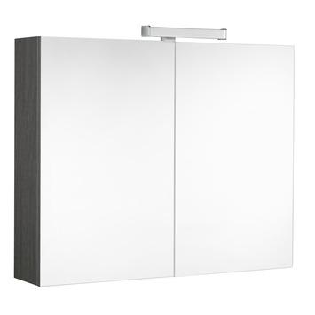 Allibert harmony spiegelkast 80cm 2deuren grijs eiken for Spiegelkast 50 cm breed