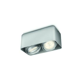 Plafonnier 2 spots Afzelia Philips LED intégré 2x 3W = 35W aluminium