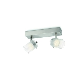 Philips Toile balkspot met 2 x geïntegreerde LED 3W = 35W mat chroom/wit