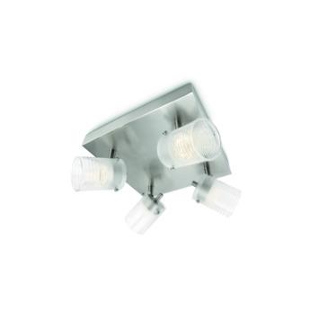 Philips Toile plafondspot met 4 x geïntegreerde LED 3W = 35W mat chroom/wit