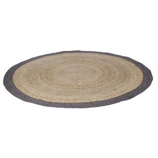 tapis rond en sisal woood 200 cm naturel avec bord gris tapis accessoires pour l 39 habitat. Black Bedroom Furniture Sets. Home Design Ideas