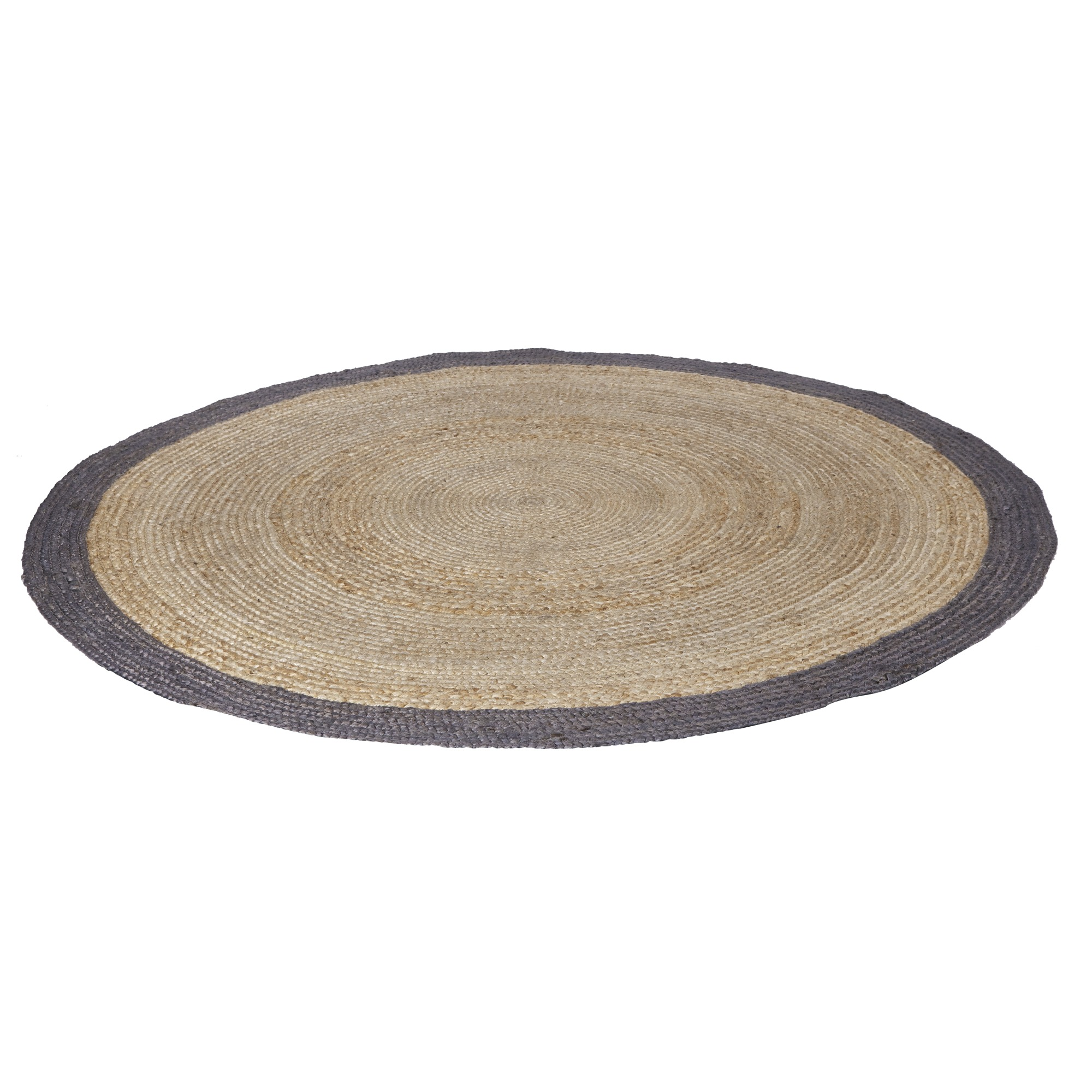 tapis rond en sisal woood 200 cm naturel avec bord gris. Black Bedroom Furniture Sets. Home Design Ideas
