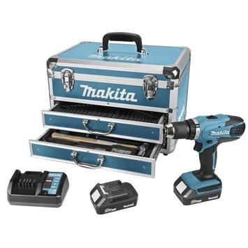 Perceuse-visseuse sans fil Makita DF457DWEX6 18 V Li-ion avec 102 accessoires