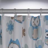 Rideau de douche Owl Sealskin PVC 180x200 cm bleu