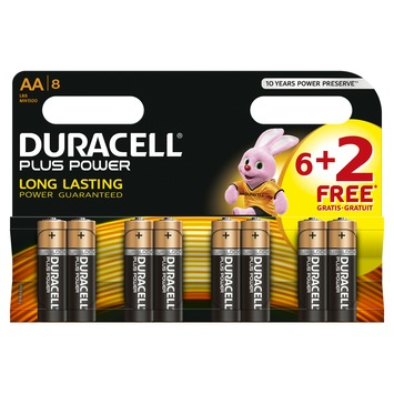 Pile Duracell Plus Power AA 6+2 pack