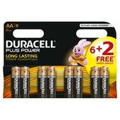 Duracell Plus Power alkaline AA-batterijen 6+2 stuks