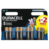 Piles alcaline Duracell  AA 6 + 2 pièces