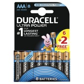 Piles alcaline Duracell  Ultra Power  AAA 6 + 2 pièces