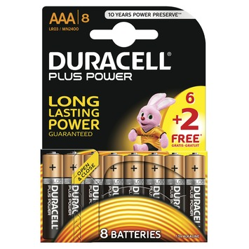Pile Duracell Plus Power AAA 6+2 pack