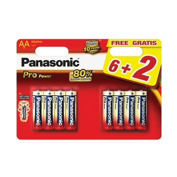 Panasonic Pro Power alkaline batterijen AA 6+2 stuks