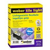 Colle pour carrelage Tile Light Weber 2,5 kg gris clair