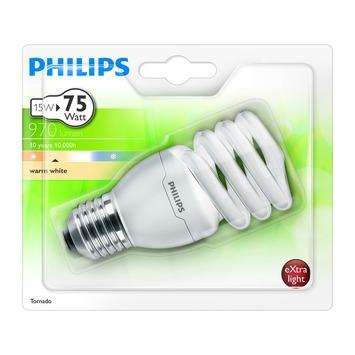 Philips Tornado spaar spiraallamp E27 970 lumen 15W = 75W