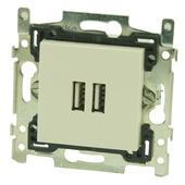 Niko stopcontact 2x USB cream