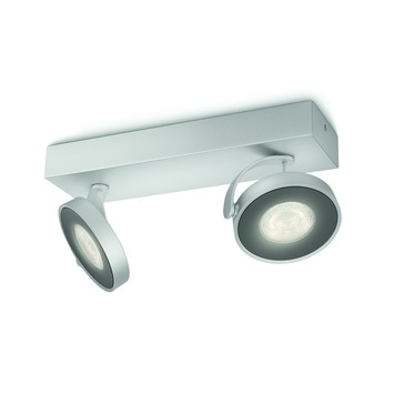 Support 2 spots Clockwork Philips LED intégré 4W = 54W aluminium