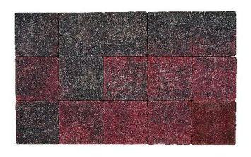 Kasseien Beton Getrommeld Rood/Zwart 15x15x6 cm - 120 Stuks / 2,76 m2