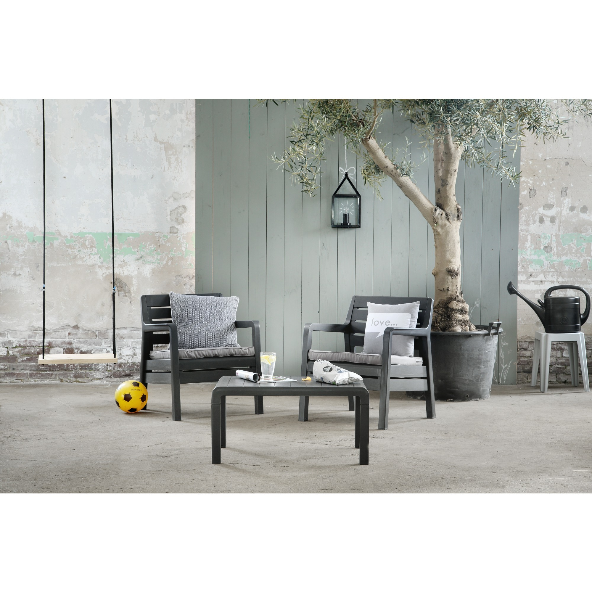 ensemble lounge delano balcony allibert graphite chaises fauteuils de jardin meubles de. Black Bedroom Furniture Sets. Home Design Ideas