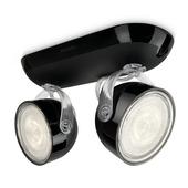 Support 2 spots Dyna Philips LED intégré 3W = 38W noir