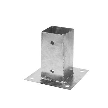 Support plat pour poteau 9x9 cm zingué
