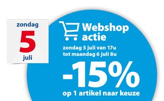 webshopactie -15% op 1 artikel op 5 en 6 juli